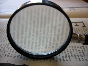 Magnifying glass and page